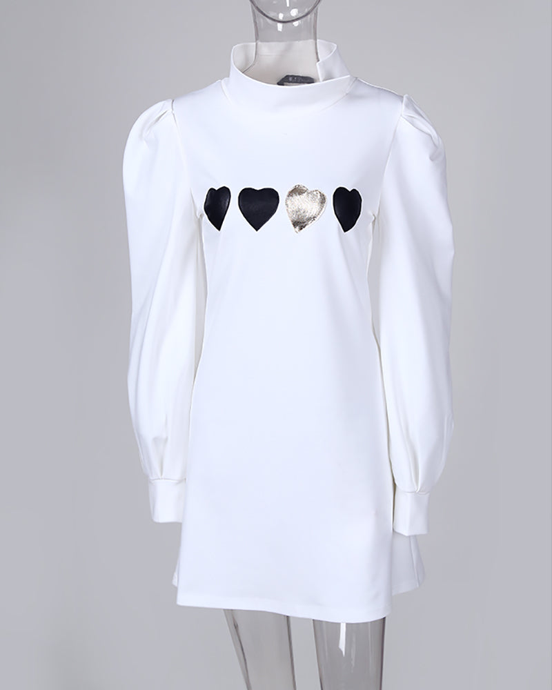 Mock Neck Lantern Sleeve Heart Print Buttoned Dress
