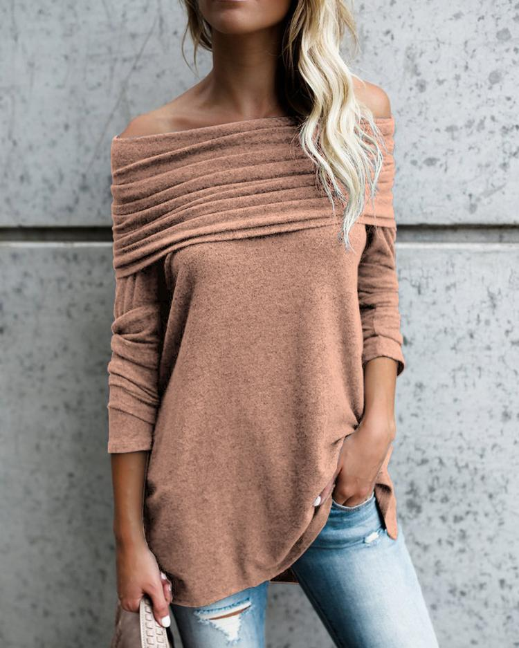 Stylish Ruched Fold-over Casual Blouse