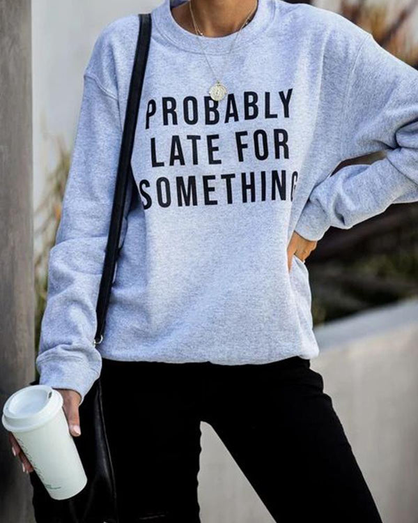 Letter Print Round Neck Casual Sweatshirt
