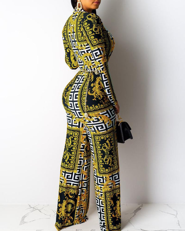 Deep V Neck Retro Print Wide Leg Jumpsuit