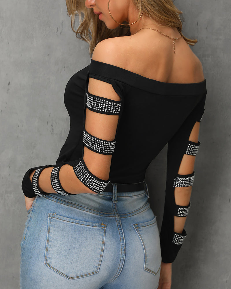 Off Shoulder Stud Ladder Cutout Sleeve Top