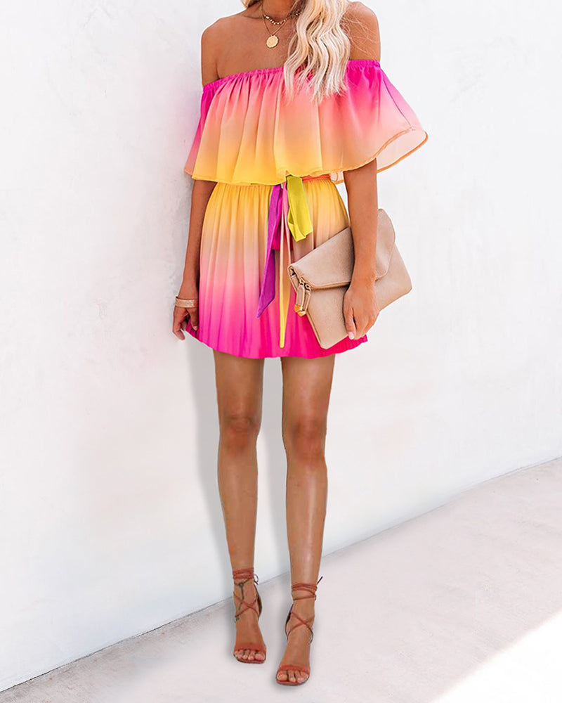 Gradient Color Tie Dye Off Shoulder Ruffles Dress