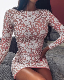 Embroidery Bodycon Mini Dress