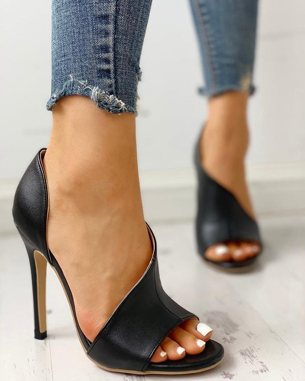 PU Cutout Peep Toe Thin Heeled Sandals