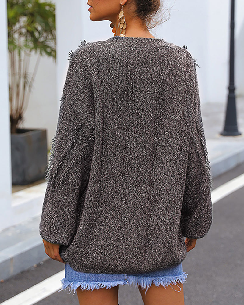 Solid Tassel Design Casual Sweater