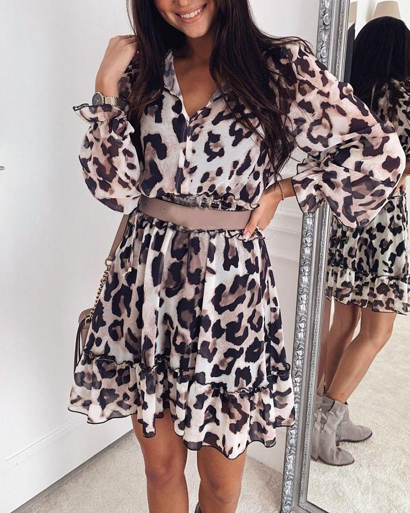 V Neck Ruffle Hem Leopard Dress