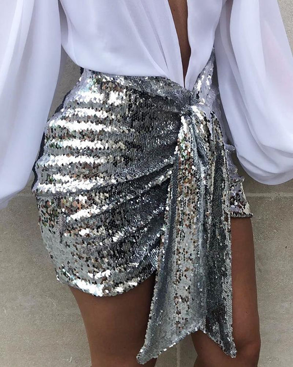 Sequins Ruched Knotted Slinky Skirt