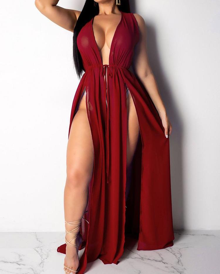 Chiffon Thigh Slit Beach Dress Cover Ups