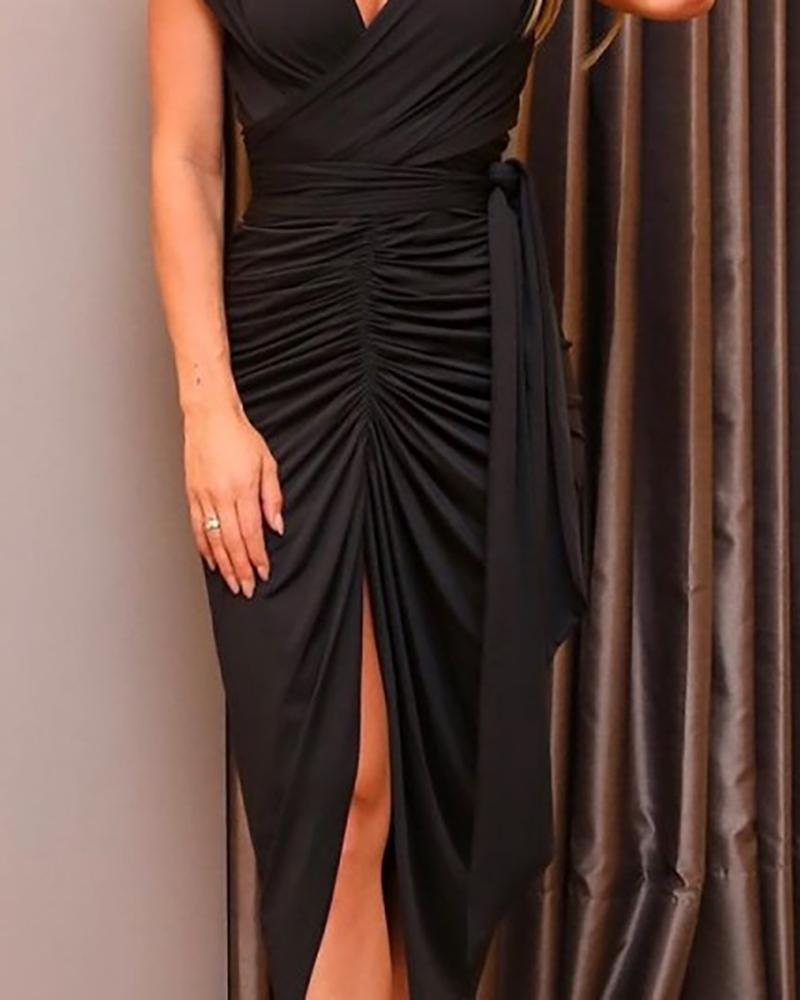 Solid High Slit Tied Waist Ruched Dress