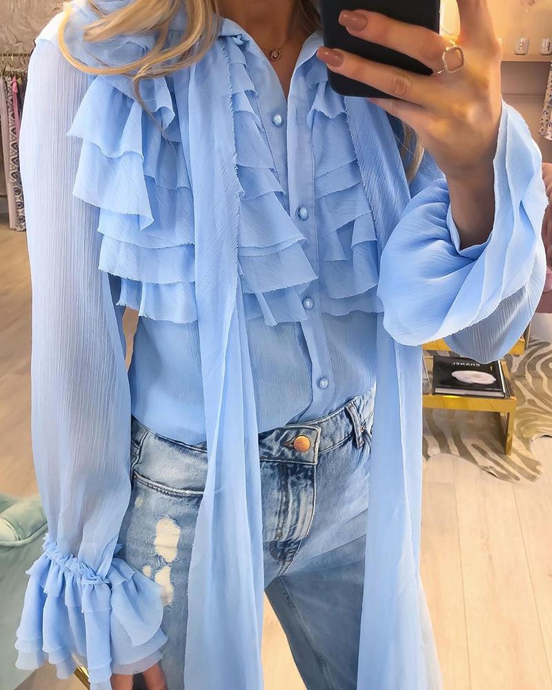 Tied Neck Layered Ruffles Lace Shirt