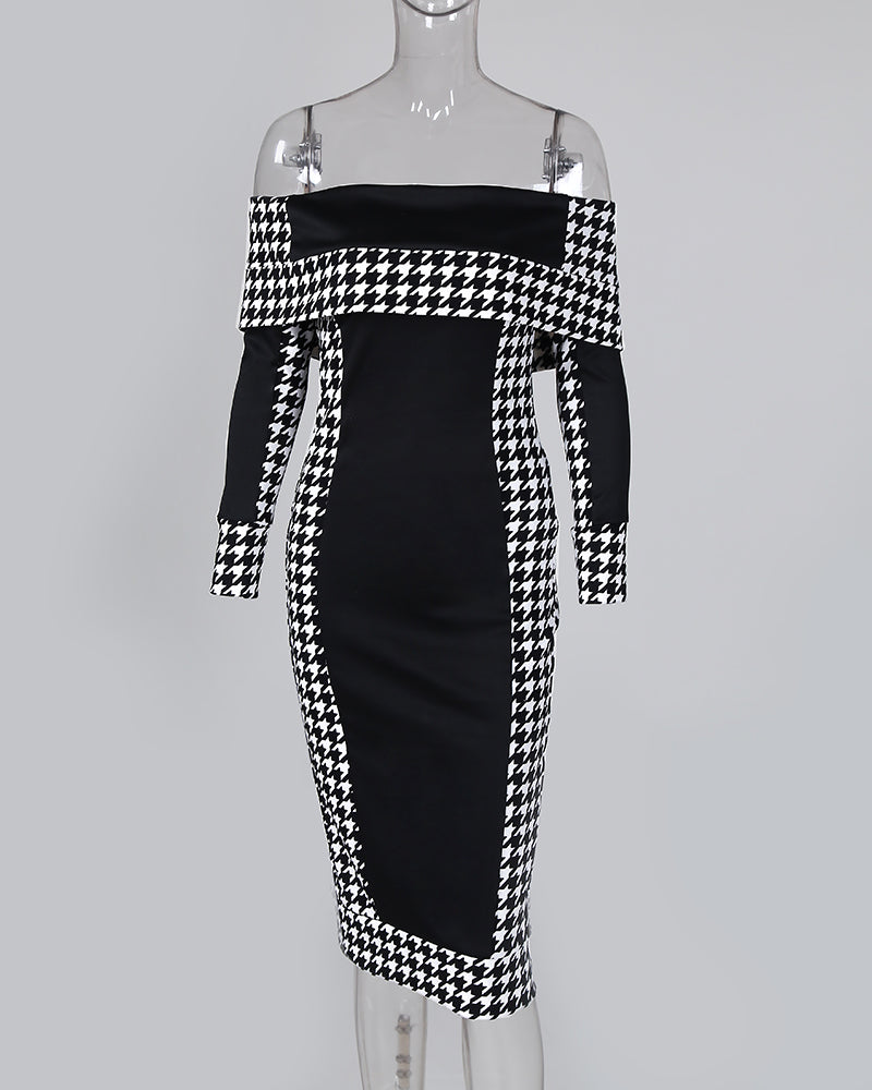 Off Shoulder Houndstooth Insert Bodycon Dress