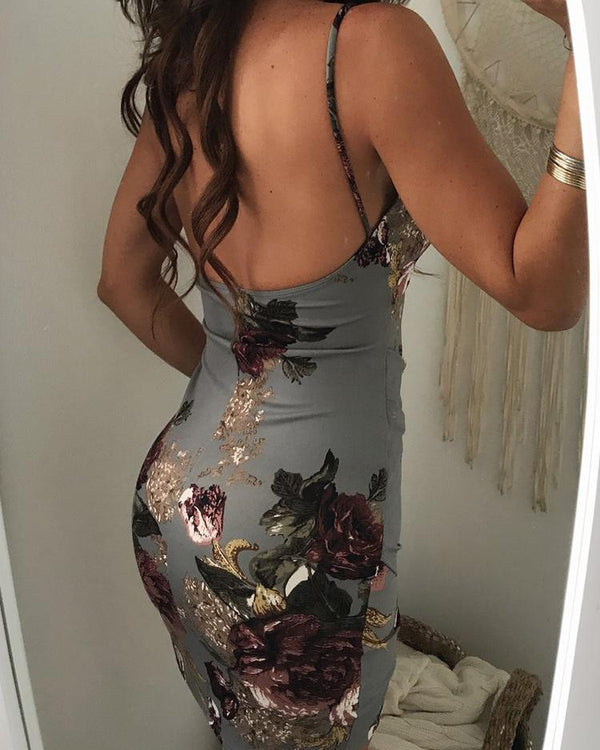 Irregular Floral Print Backless Bodycon Slip Dress