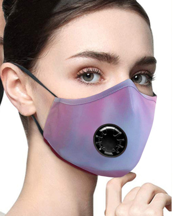 Tie Dye Breathing Washable Valve Face Mask (1 fillters as gift)  Without Cord Lock Toggles