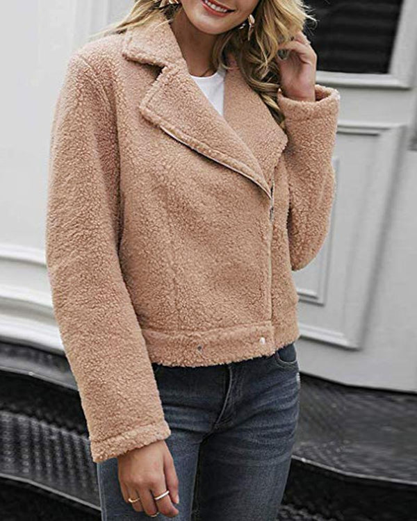 Solid Notched Collar Zipper Design Fluffy Coat