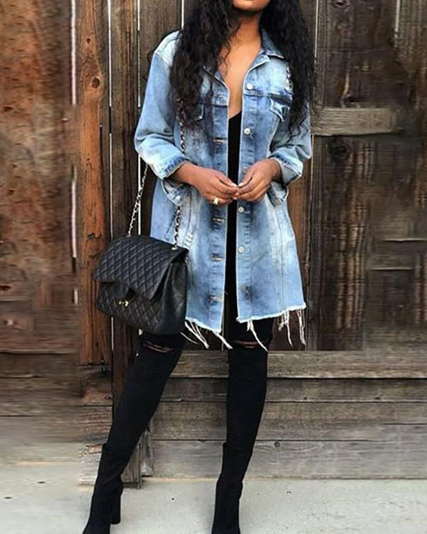 Button Through Distressed Fringes Hem Denim Coat