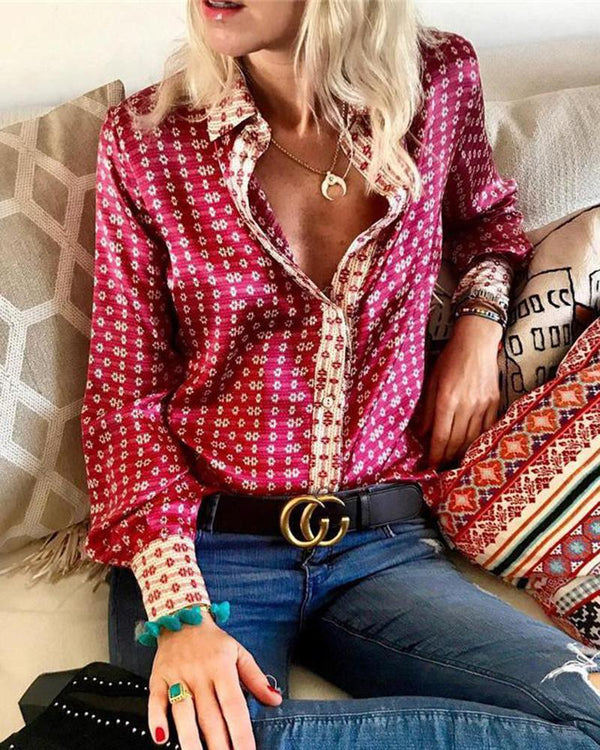 Women Long Sleeve Print Top