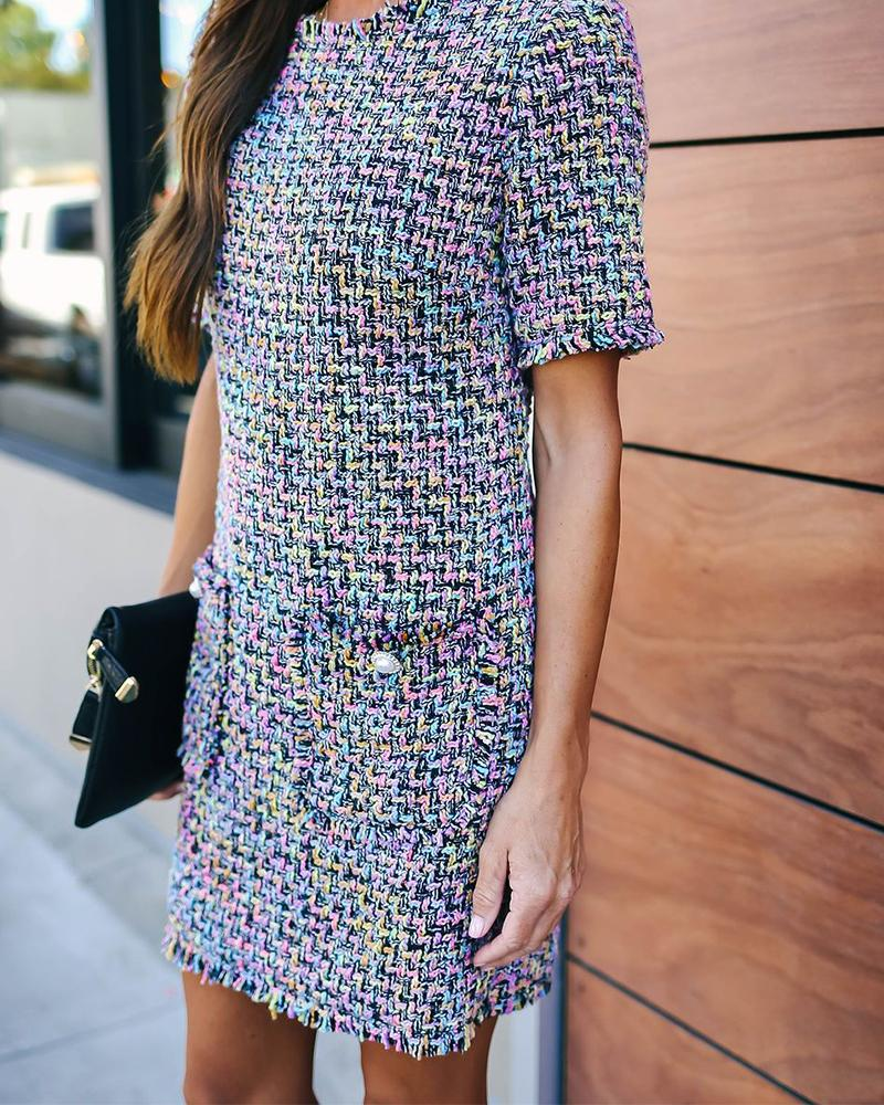 Neon Print Short Sleeve Pocketed Dress