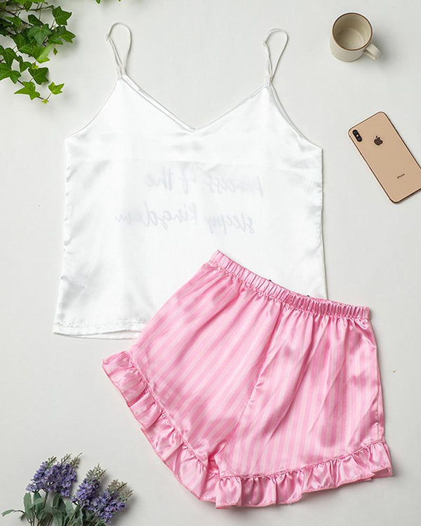 Ice Silk Tank Shorts Pajamas Sets