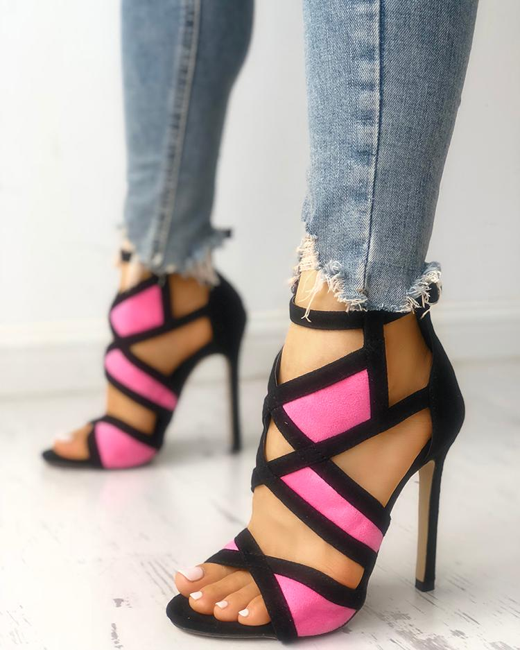 Contrast Color Caged Bandage Heeled Sandals