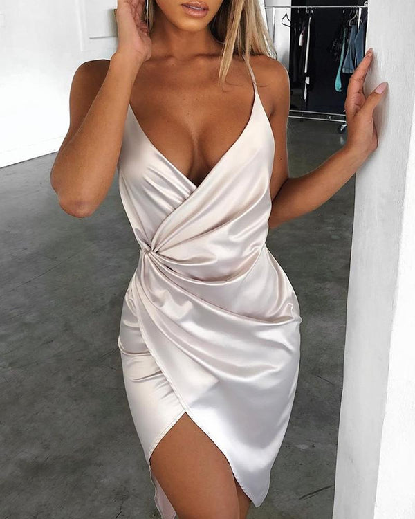 Satin Spaghetti Strap Ruched Irregular Party Dress