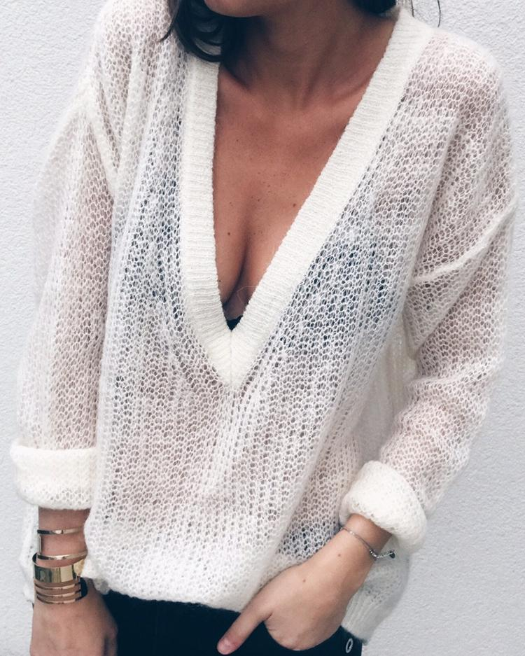 Plaid V Neck Loose Pullover Sweater
