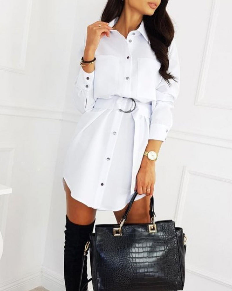 Turn-down Collar Pocket Design Buttoned Shirt Dress