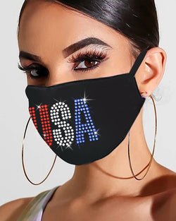 Flag Letter Floral Pattern Studded Bling Rhinestone Face Mask