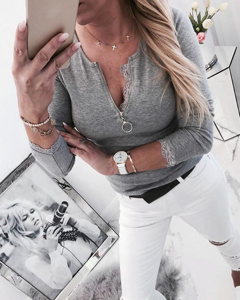 Solid Long Sleeve Zipped Casual Blouse
