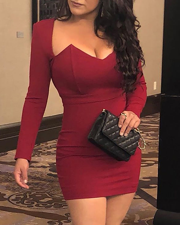Solid Sweetheart Neck Bodycon Dress