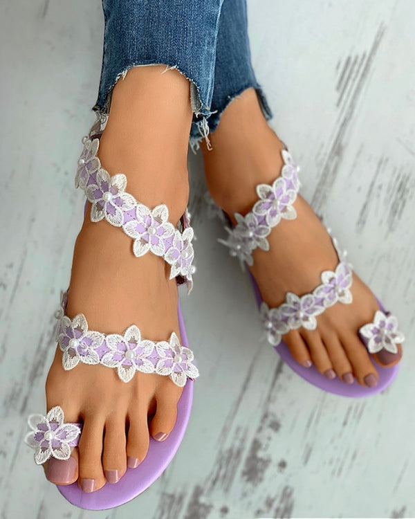 Floral Embroidery Beaded Toe Ring Flat Sandals