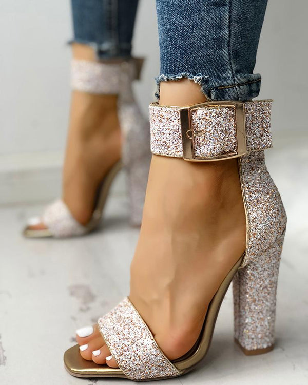 Stylish Sequin Open Toe Chunky Heeled Sandals