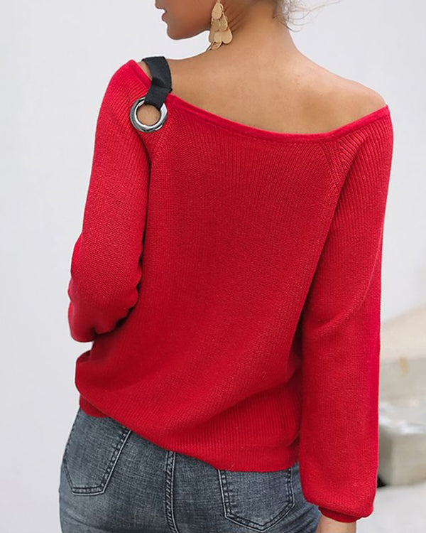 Solid Eyelet Round Neck Long Sleeve Ribbed Sweater