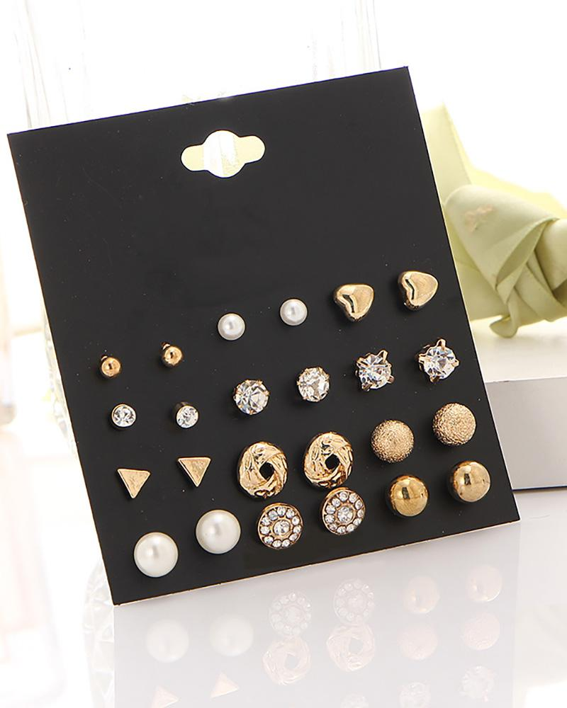 12 Pairs Rhinestone Beaded Pattern Ear Cuff Earring Set