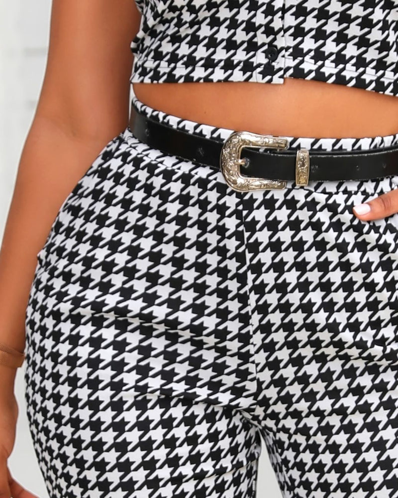 Houndstooth Print Buttoned Top & Pants Set