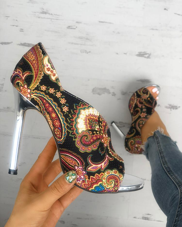 Tribal Print Peep Toe Thin Heeled Sandals