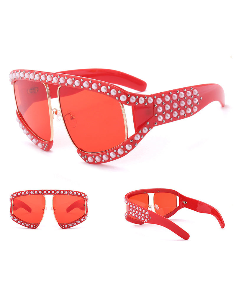 Beaded Big Frame Sunglasses