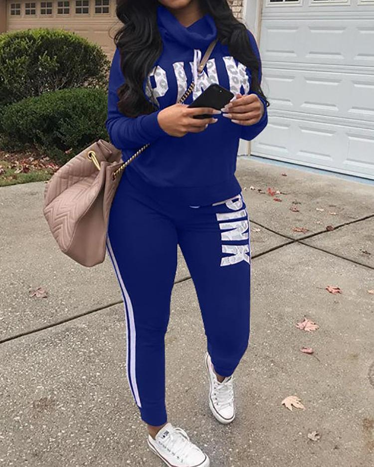 Plus Size Letter Print Casual Sweatshirt Sets