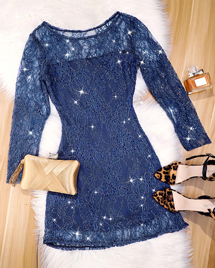 Glittering See Through Distress Party Dress