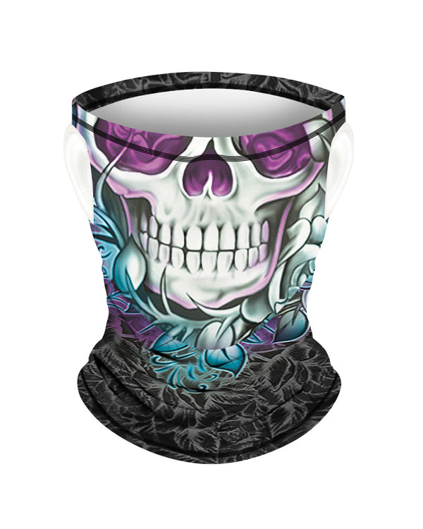 Skull Print Breathable Ear Loop Face Bandana Headwrap For Children