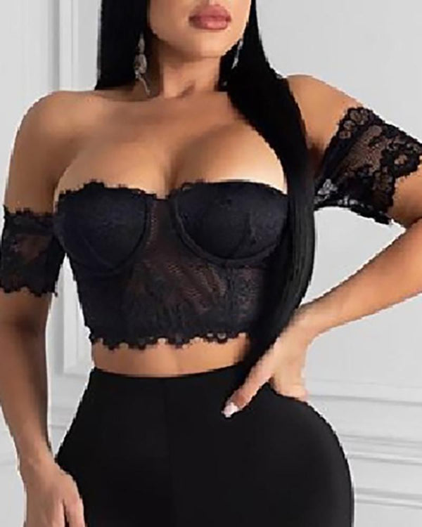Off Shoulder Eyelash Lace Crop Top & High Waist Shorts Set