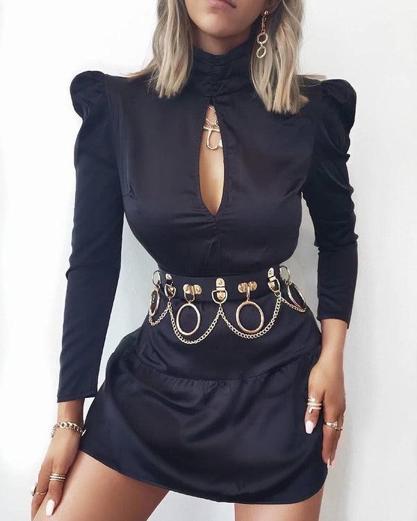 Solid Cut Out Chest Puff Sleeve Dress