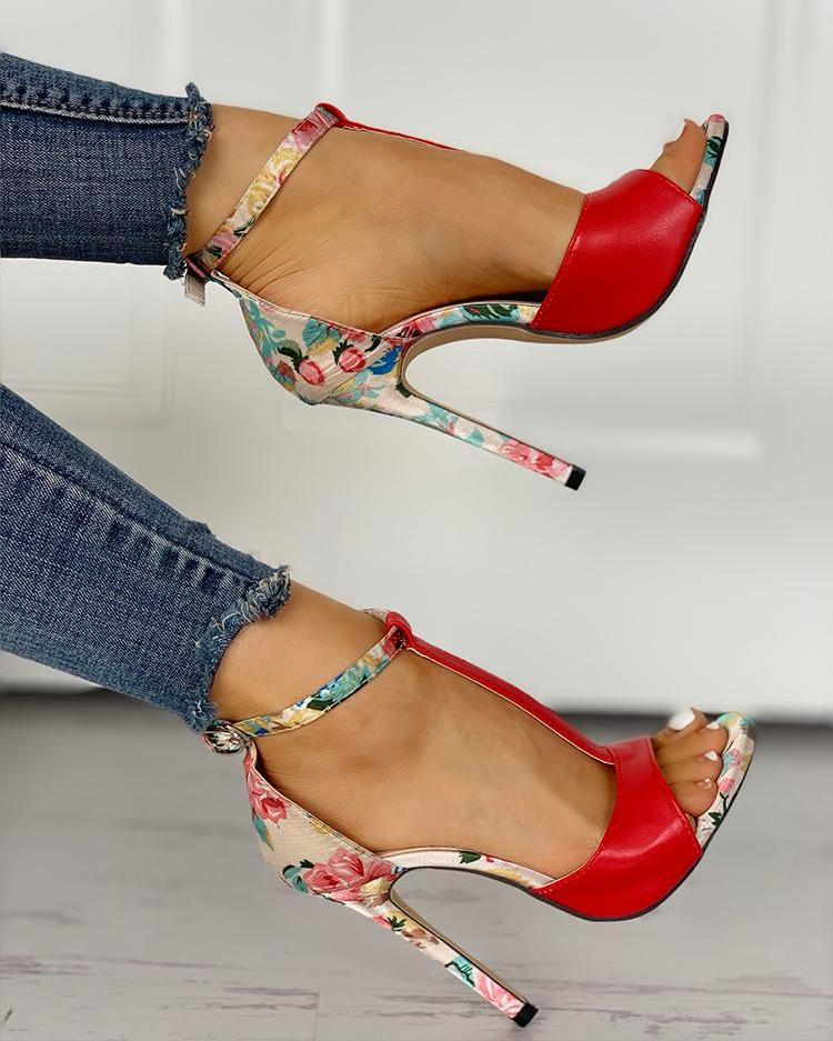 Contrast Color Floral Splicing Ankle Strap Heeled Sandals