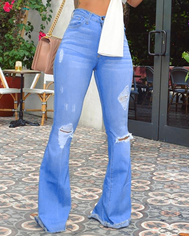 High Waist Ripped Bell-Bottom Jeans