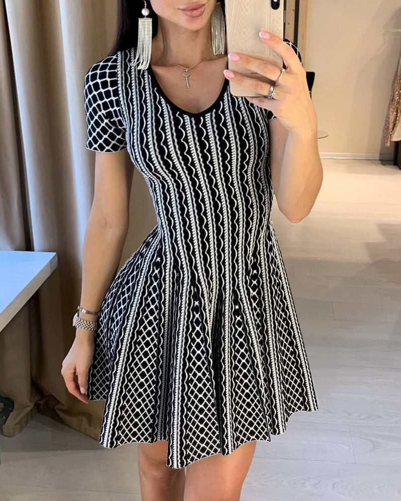 Striped Plaid Ruched Short Sleeve Dress