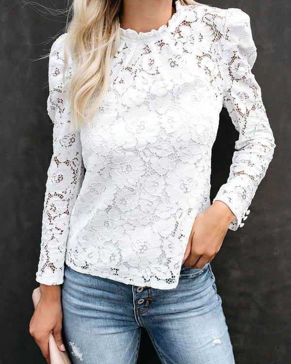 Mock Neck Back Button Lace Top