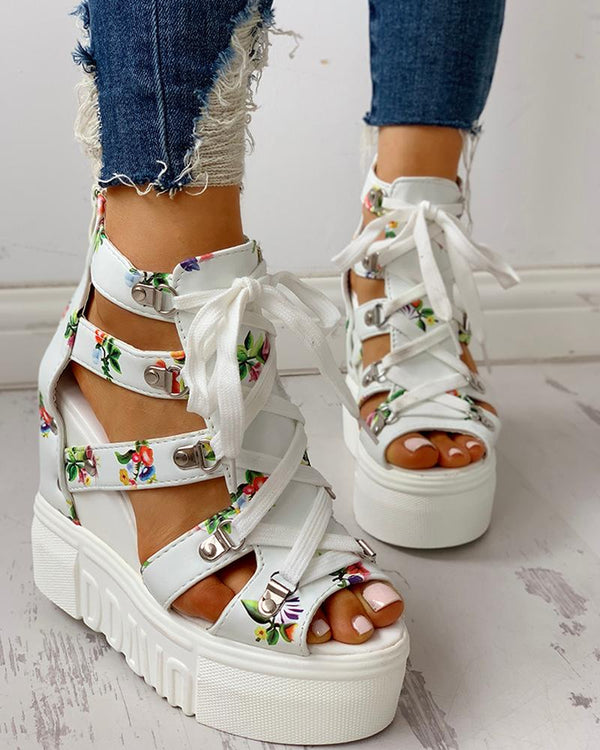 Lace-Up Cut Out Wedge Sandals