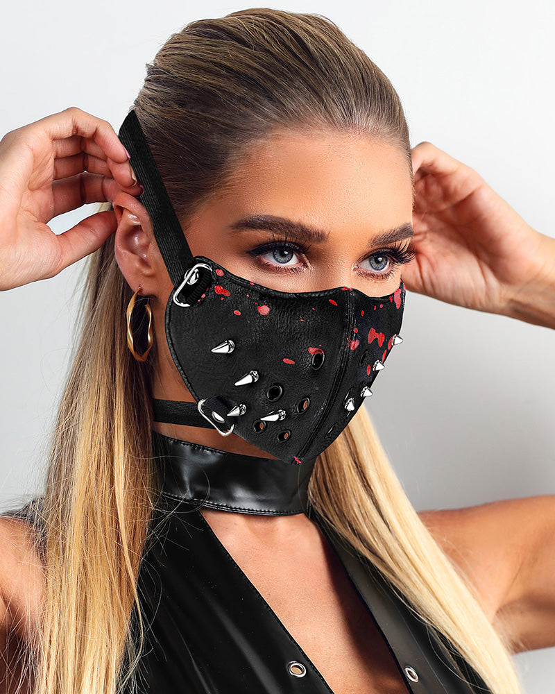 Rivet Graffiti Punk Leather Breathable Motorcycle Biker Face Mask