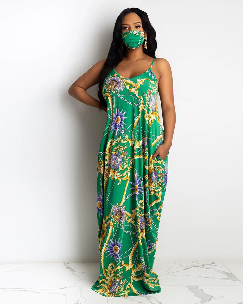 Chain Floral Print Pocket Design Maxi Dress