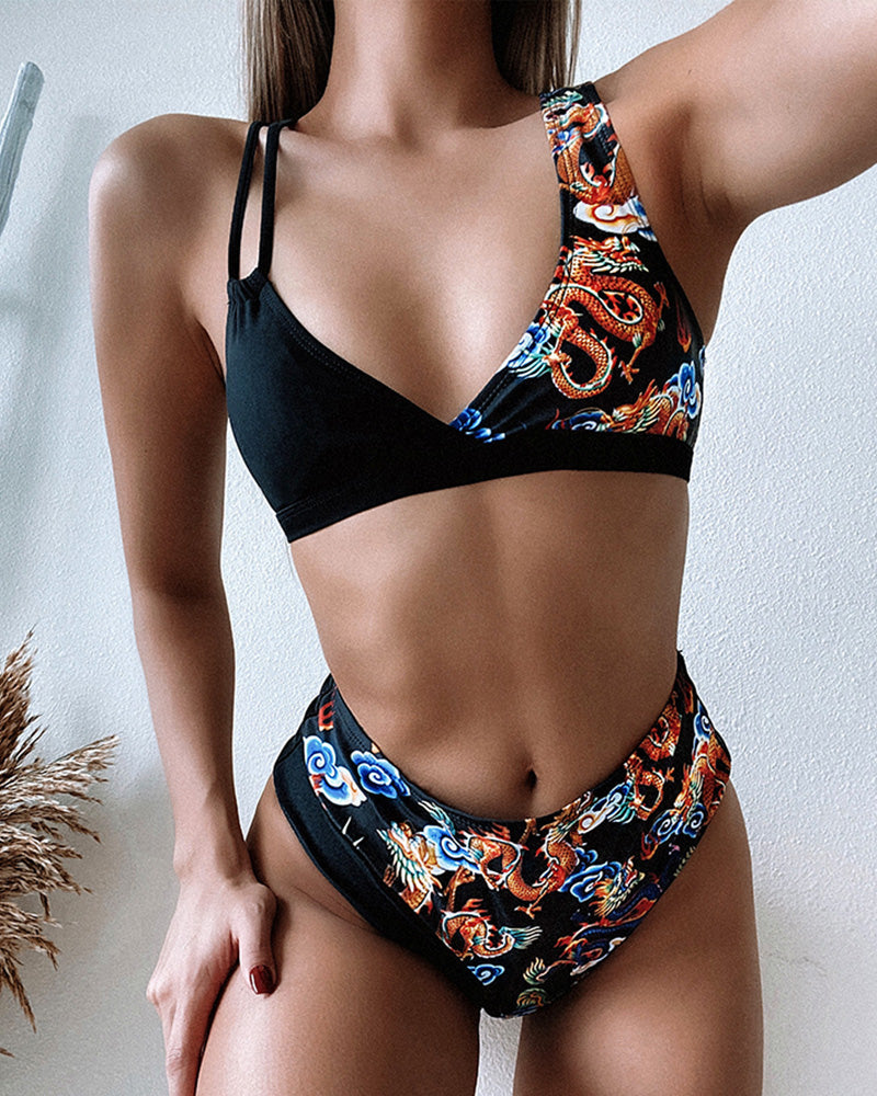 Dragon Print V-neck Bikini Sets