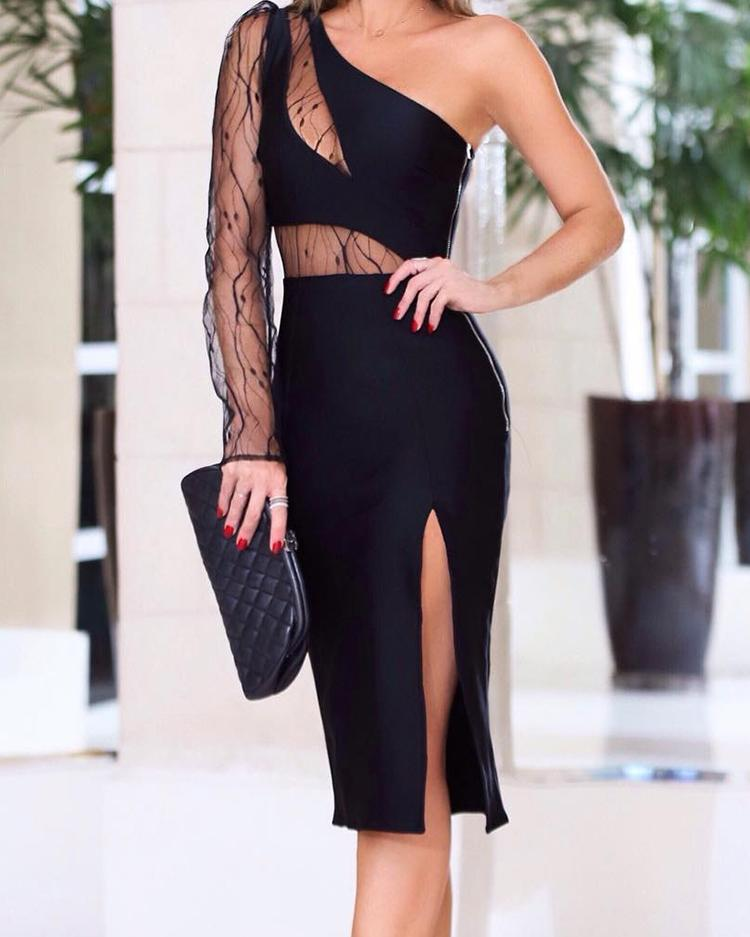 Mesh Insert One Shoulder Slit Bodycon Dress